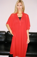 Poncho dress, chiffon, red