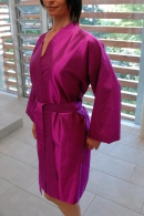 Silk bathrobe short, fuchsia