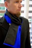 2-type Silk scarf royalblue-black